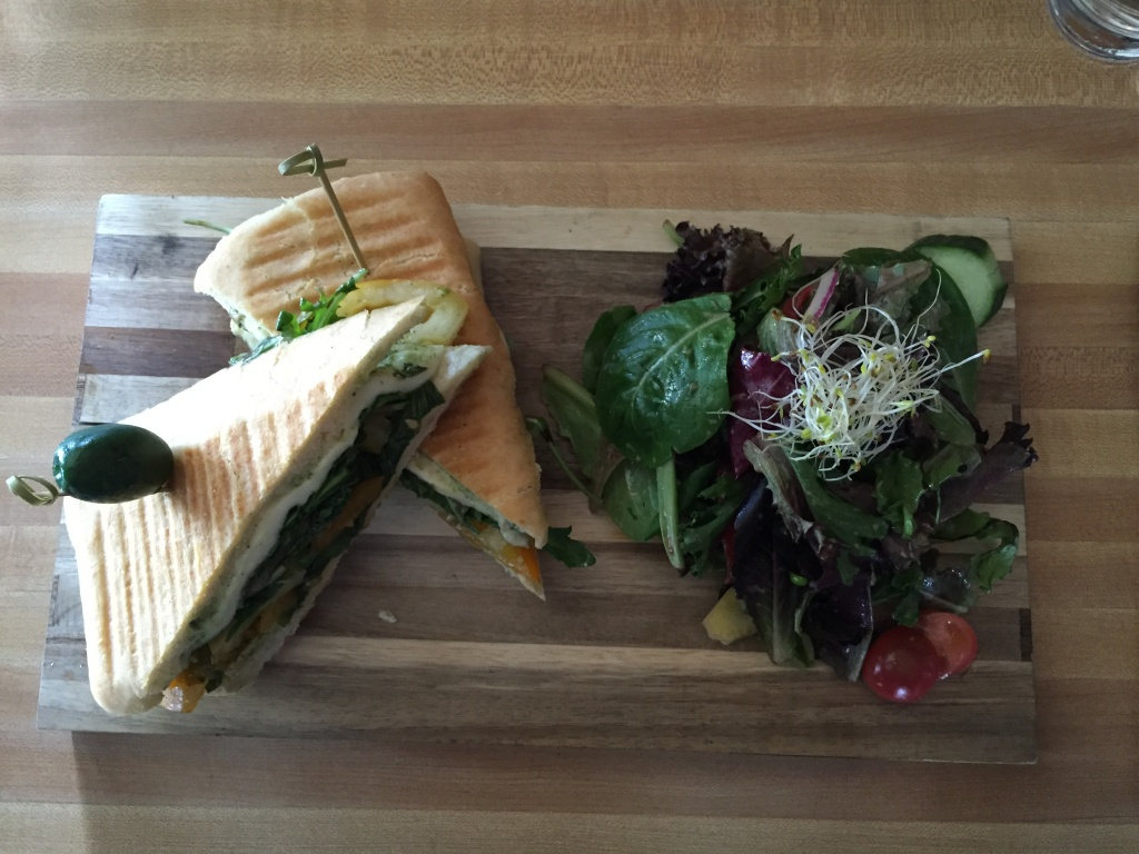Vegetarian panini with a side of salad.