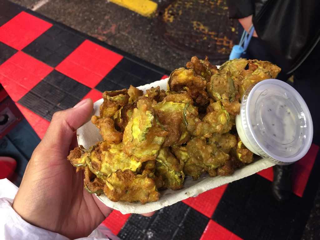 Deep fried pickles with ranch from Pickle Pete's ($7).