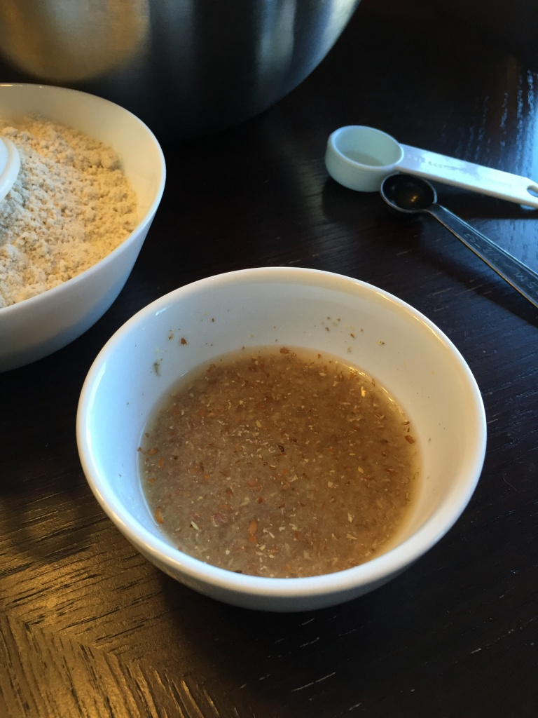 """Flax egg"" acts as a binder in the recipe."