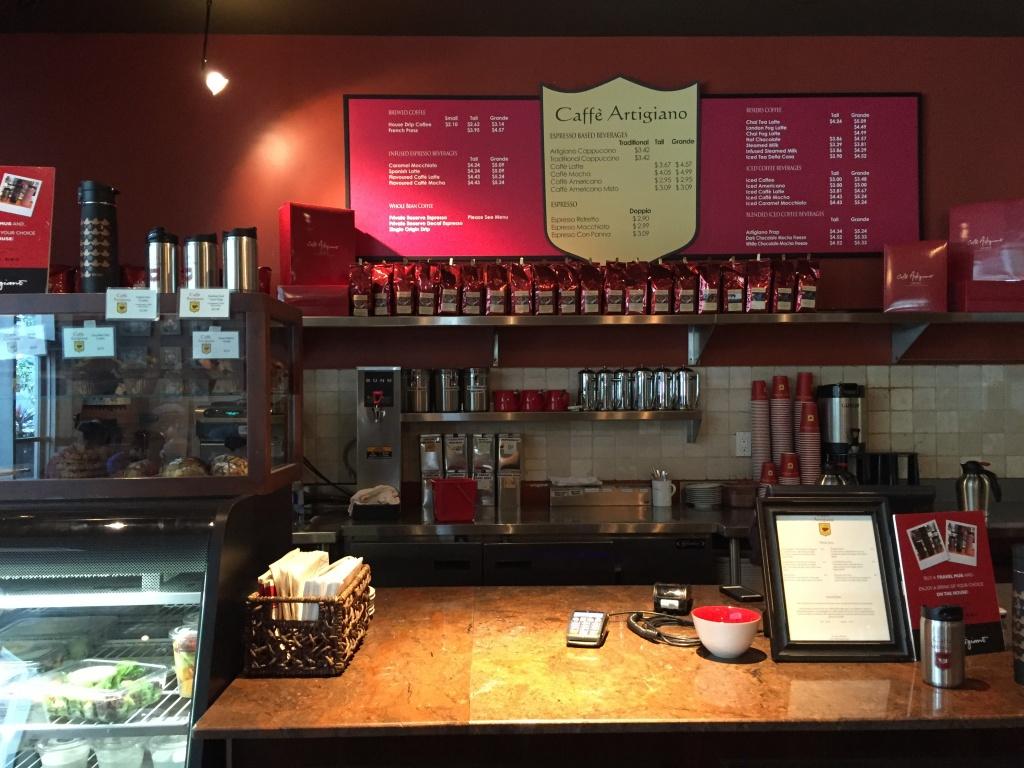 Caffe Artigiano front counter.