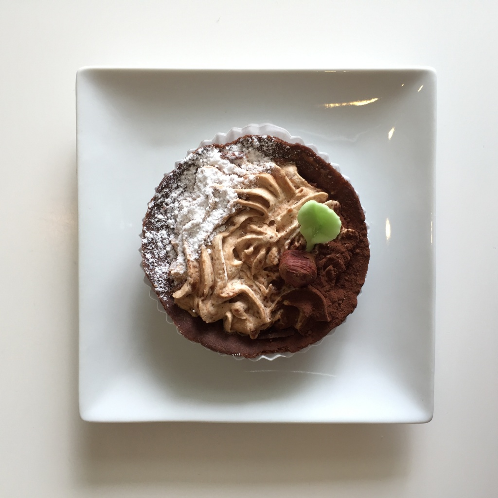 Chocolate tart for dessert.