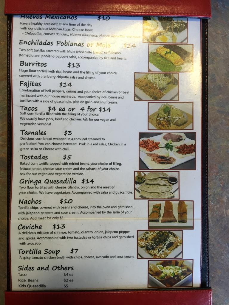 Sabores menu.