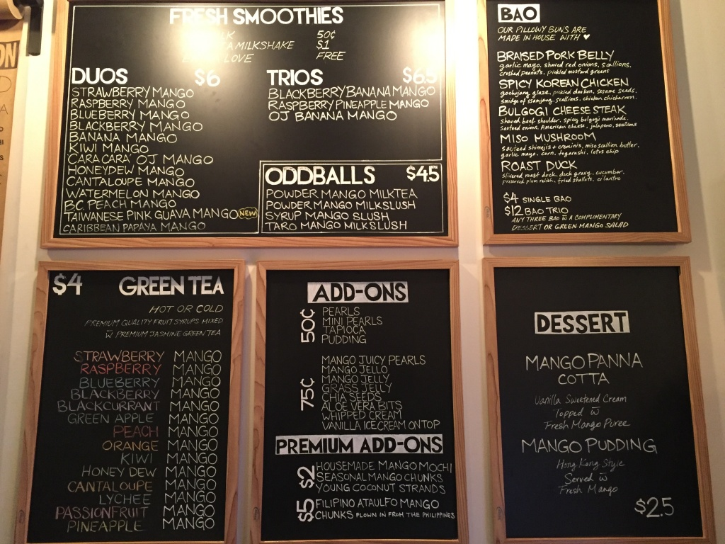 Tea and smoothie menu.