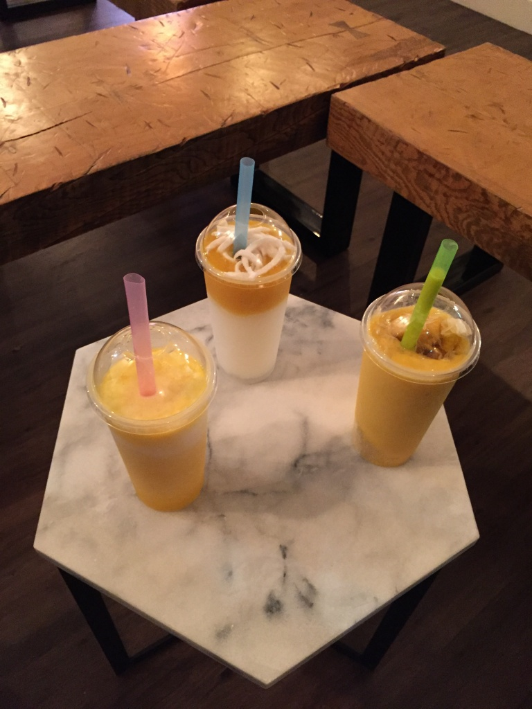 Young coconut slush, Hong Kong classic and Coconut mango.