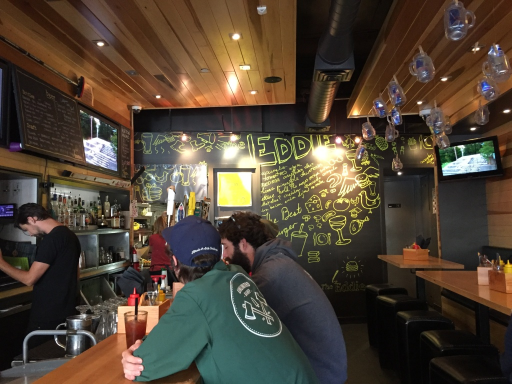 Eddie Burger and Bar is a tiny but popular restaurant/bar.