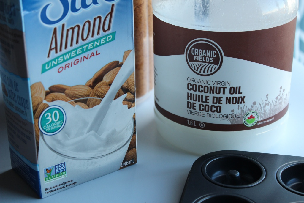 Vegan baking essentials! Almond milk and coconut oil. :)
